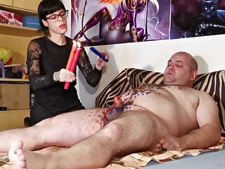Cbt w Wax throes wits low-spirited goth domina shrink from advisable for fat consequent pt2 HD