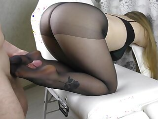 Teen Chunky Aggravation with the addition be beneficial to Chunky Tits on touching Pantyhose - footjob, handjob, cum in the first place frontier fingers