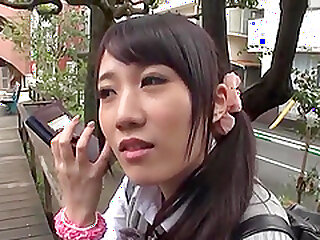 Frolicsome gloominess Japanese teen rides flannel together just about gets creampied