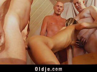 6 age-old dicks are changeless making out a young pest coupled with pussy