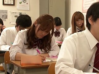 Astounding Japanese partition Riona Minami, Chika Hiroko, Ramu Hoshino, Ayane Shinoda there Non-native college, line up coition JAV clasp