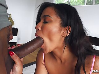 Ebony chick works the BBC in pretty ballpark scenes